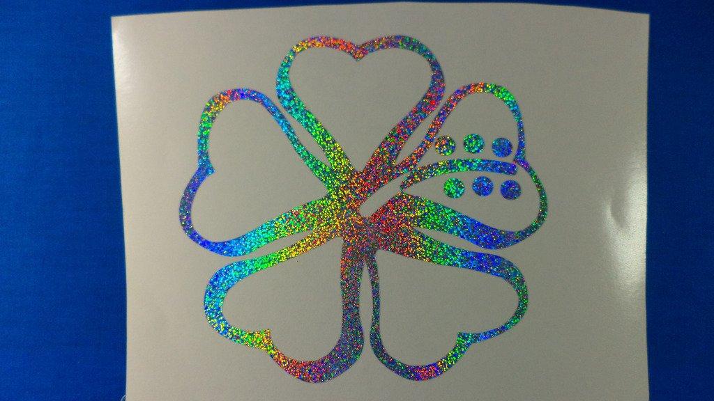 Holographic Sparkle Hawaiian Heart Hibiscus Flower Car Window Laptop Decal Sticker