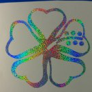 Holographic Sparkle Hawaiian Heart Hibiscus Flower Car Window Laptop Decal Sticker