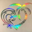 Holographic Ocean Palm Tree Heart Vinyl Car Window Decal Sticker Home Glass Door