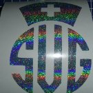 Holographic Stardust Custom Nurse Hat Monogram Vinyl Car Window Decal
