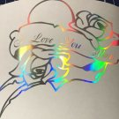 Holographic I Love You Mom Roses Heart Vinyl Car Window Decal