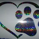 Custom Holographic Sparkle Dog Paw Heart Vinyl Car Window Decal Sticker Di Cut