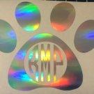 Holographic Custom Paw Print Monogram Initials Vinyl Decal Sticker Laptop
