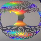 Tribal Celtic Tree Of Life Holographic Silver Yoga Vinyl Car Window Decal