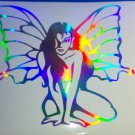 Fairy Lady Holographic Silver Vinyl Car Window Decal Laptop Butterfly Lady