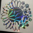 Sunflower Dog Paws Holographic Pinwheel Car Window Decal Laptop Vinyl Family Pet