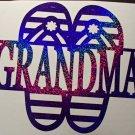 Grandma Mom Nana Sandals Flipflops Monograms You Choose Family Vinyl Car Decal