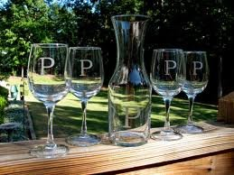 Wine glass set  Hand etched!