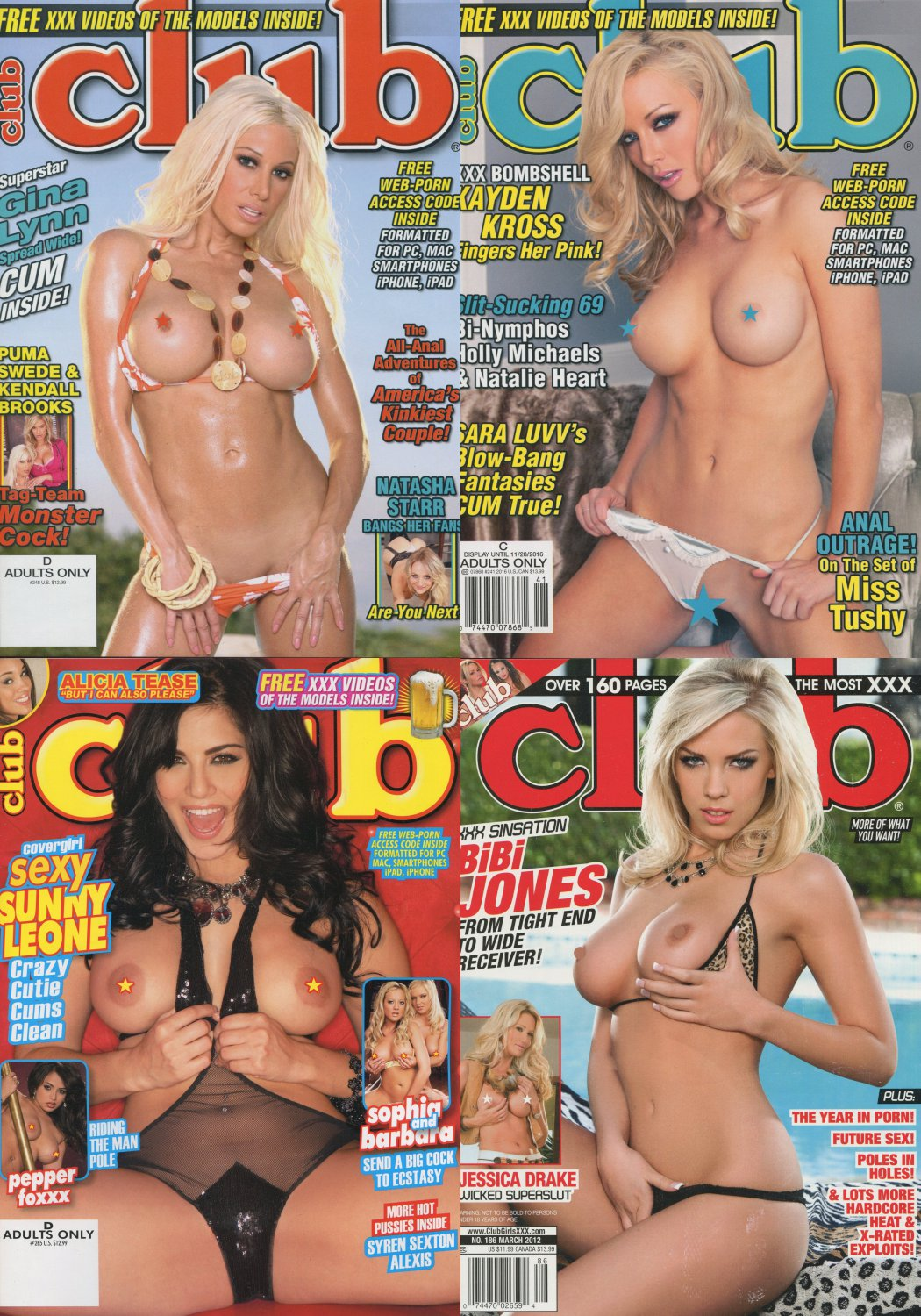 CLUB LOT#1210 Value Pack - 4 Mags + 4 Hardcore DVD's