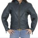 Ladies Motorcycle Biker Leather Jacket Zip out with Braids