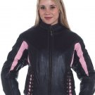 Ladies Motorcycle Racer Leather jacket Pink Stripes zip out