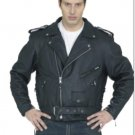 Mens Leather Biker Motorcycle Jacket American Eagle emblem
