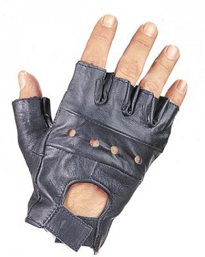 Motorcycle Leather Fingerless Fitness Gloves S/M ~ 3X