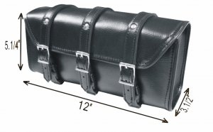 3 STRAPS MOTORCYCLE BIKER TOOLBAG GEAR FORK TOOL BAG