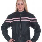 Ladies Motorcycle Biker Leather Jacket Pink Stripes WOW