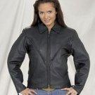 Ladies Heavy Duty Soft Leather MC Jacket w/ Z/O Lining & Braid Gather Sides