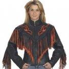 Ladies Jacket w/ Flame & Fringe