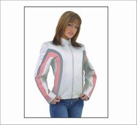 Ladies Motorcycle Racer Leather jacket Silver Pink Stripes Zip out Lining inside