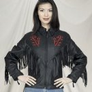 Ladies Red Rose Inlay Jacket, S/L & Z/O Lining, Heavy Duty Soft Leather