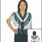 Ladies White & Black Vest w/ Beads, Bone, Braid & Fringe w/ Snaps