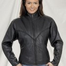 Ladies Heavy Duty Soft Leather Braided Jacket w/ Round Collar, Z/O Lining & V-Lace in Back
