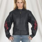 Ladies Heavy Duty Soft Leather Motorcycle Jacket w/ Flame & Z/O Lining