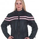 Ladies Leather Racer Jacket w/ Double Pink Stripes, Z/O Lining, Front & Back Airvents, Verticle Gath