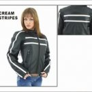 Ladies Soft Leather Jacket w/ Z/O Lining, Front & Back Airvents, Cream Colored Stripes on Front, Bac