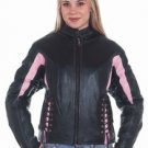 Ladies Black & Pink Leather Racer Jacket w/ Side Laces & Z/O Lining