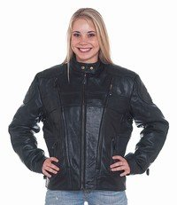 Ladies Leather Racer Jacket w/ Front & Back Airvents, Z/O Lining & Verticle Gathered Sides