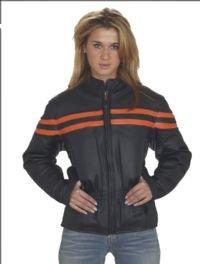 Ladies Heavy Duty Soft Leather Vented Racer Jacket w/ Orange Stripe, Lining