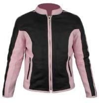 Ladies Naked Cowhide Black & Pink Leather Racer Jacket w/ Z/O Lining