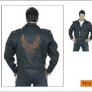 Mens Retro Brown Jacket, Emboss Eagle on Back, Z/O Lining, Side Laces, Cowhide