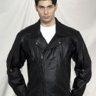 Mens Naked Cowhide MC Jkt w/ Airvent Front, Back & Arms, Z/O Lining, Vertical Gather Sides