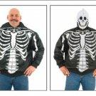 Mens Top Grade Soft Leather Skeleton w/ Skull Hood
