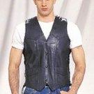 Mens Vest w/ Side Laces, 2 Front & 2 Inside Pockets, Lamb Skin