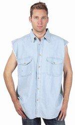 Mens Denim Light Blue Sleeveless Shirt w/ Buttons