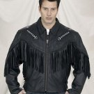Mens Arrow Jacket Hand Braided, Fringes, Sidelaces, Z/O Lining, Cowhide Leather