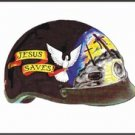 500 Series D.O.T. Helmet w/ Jesus Saves Banner on side, & 3 Crosses on the front