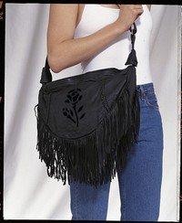 Ladies Black Rose Inlay Purse Large ac2002