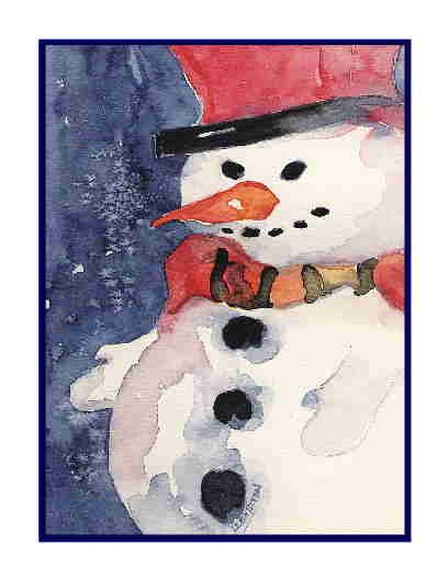 Eight Watercolor Christmas Snowman Greeting Note Cards Notecards