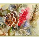 Watercolor Pine Cone and Needles Greeting Note Cards Notecards Eight