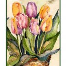 8 Watercolor Tulips in a Basket Greeting Note Cards Notecards