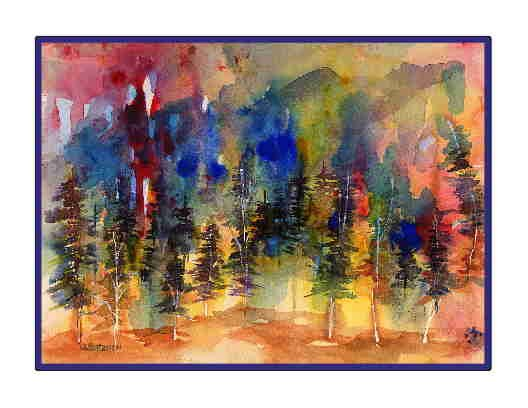 Set of Eight Watercolor Abstract Fiery Forest Greeting Notecards Note Cards