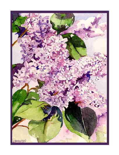 Set of Eight Watercolor Lilac Greeting Notecards Note Cards