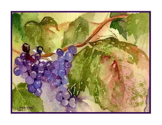 Set of Eight Watercolor Sunripened Grapes Greeting Notecards Note Cards