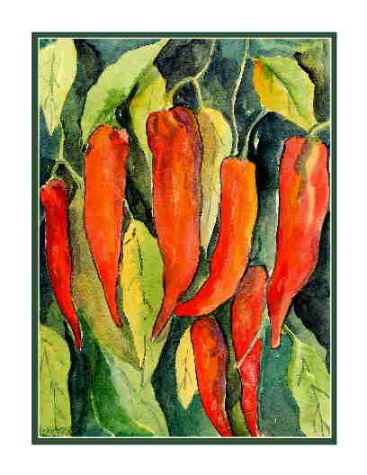 Set of Eight Watercolor Red Chili Peppers Greeting Notecards Note Cards