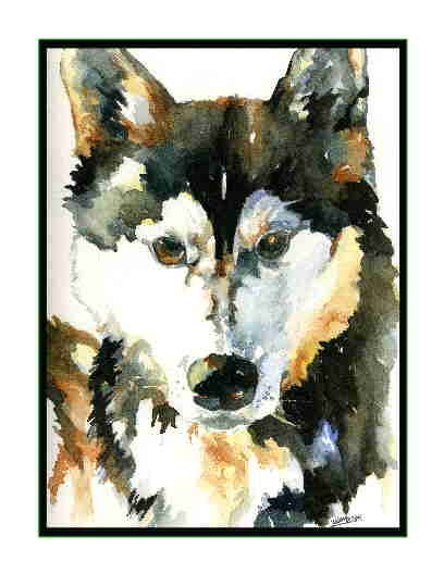 Set of Eight Watercolor For the Love of Huskies Greeting Notecards Note Cards