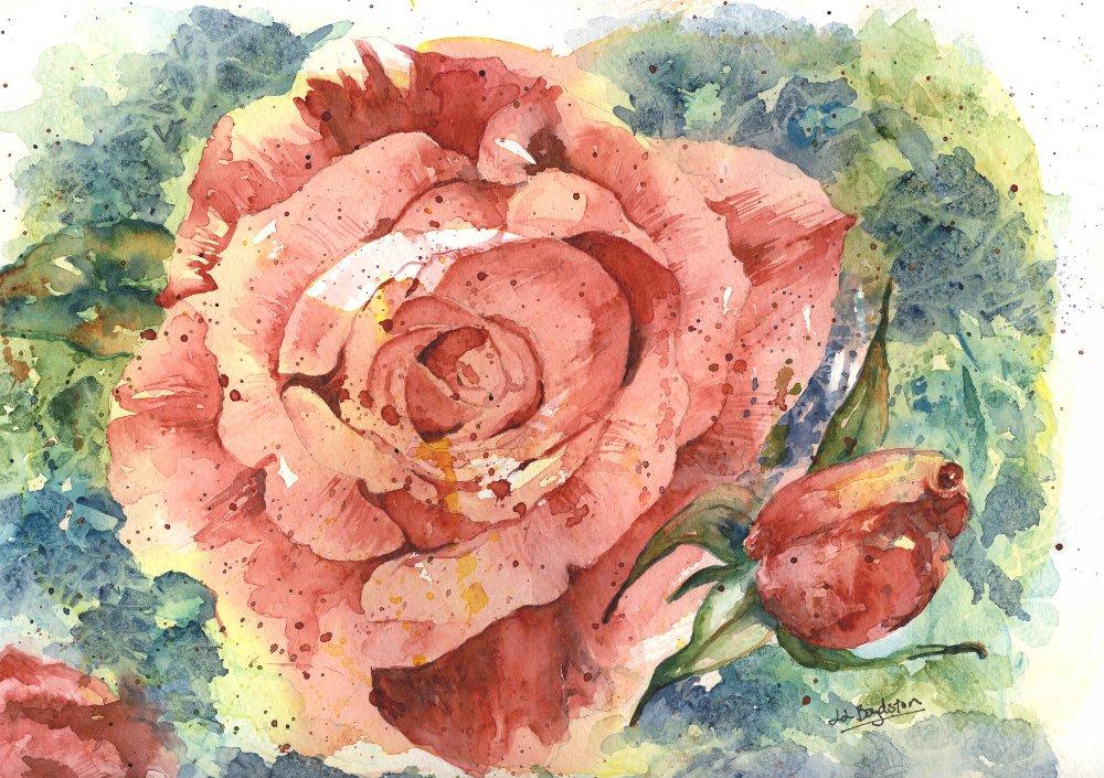 Original Watercolor Face of a Rose Painting