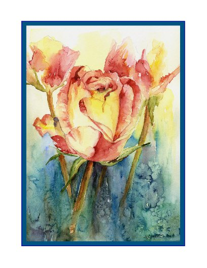8 Watercolor Yellow Rose Notecards Note Cards